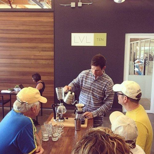 We've partnered up with @wanderlusttours to show people how coffee is done #inbend The siphon sure gets a lot of oohs and ahhhs. #brewgood #the1001bend by stackhousecoffee