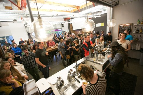 A packed house for a latte art competition.