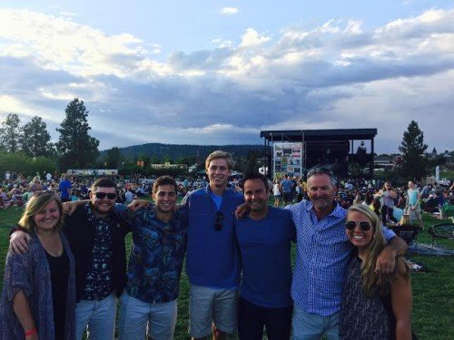 L2R: whurk interns Sienna Marquis, Matt Esterkamp, Mark Collis, Cole Ortega, Biz Dev Director Rick Fox, CEO Rob Dumas and author/intern Elsa Welshofer at the Death Cab concert.