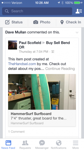 A Handsel post on Facebook. Related: Scofield's husband is selling his surfboard.